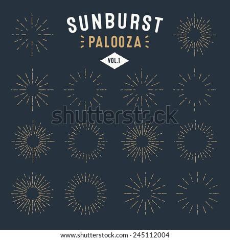 Set of Vintage Sunbursts Badges and Frames for your design. Trendy hand drawn retro bursting rays de Stock photo © designer_things