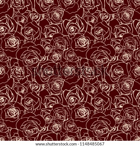 Gyönyörű vanília skicc sötét végtelen minta rózsa Stock fotó © evgeny89
