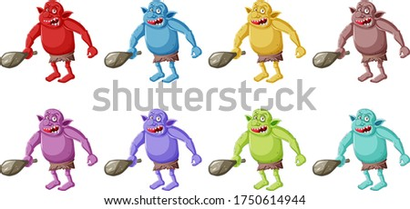 Set of colorful goblin or troll holding hunting tool in cartoon  Stock photo © bluering