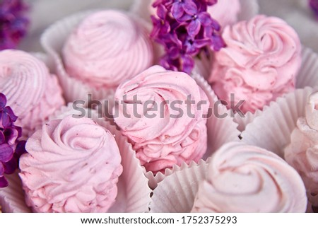 Violet sweet homemade marshmallow from blackcurrant near lilac flowers Stock photo © Illia