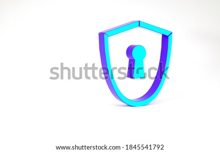 Purple Shield with keyhole. Defense sign Protection concept. Safety badge icon. Privacy banner. Secu Stock photo © kyryloff