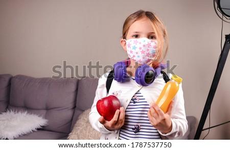 Tempo de volta à escola novo realidade material escolar máscara Foto stock © Illia
