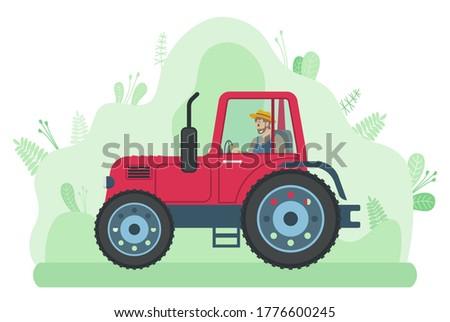 Homem condução trator estrada prado jeans Foto stock © robuart