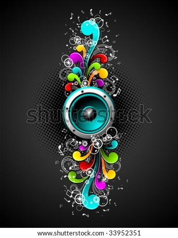 Vector speakers with colorfull grunge floral elements on a dark background. Stock photo © articular