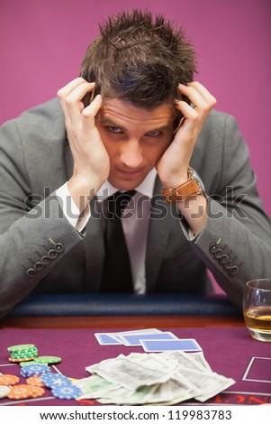 депрессия человека сидят таблице казино играет Сток-фото © wavebreak_media