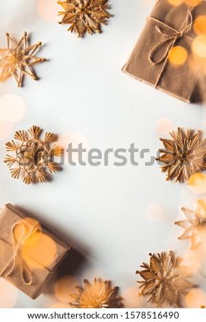 handmade traditional christmas decoration angel goat and snowfl stock photo © hasloo
