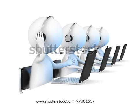 help desk 3d little human character in a call center white bac stock photo © dacasdo