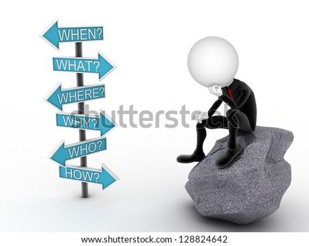 empresário · em · pé · ponto · de · interrogação · pontos · de · interrogação · ponto · pensando - foto stock © dacasdo