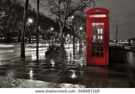 Piros busz esős utca London éjszaka Stock fotó © anshar