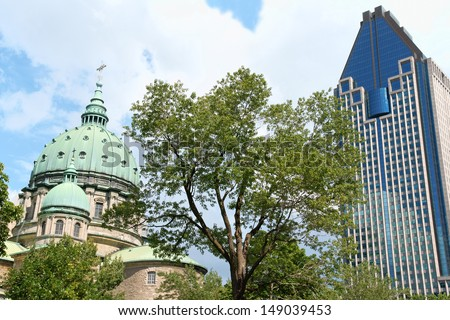 Mary Queen of the World Cathedral and Le 1000 de la Gauchetiere  Stock photo © aladin66