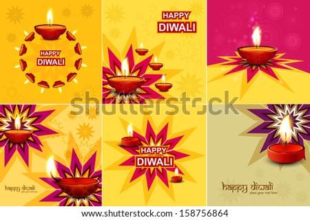 beautiful happy diwali 6 collection celebration colorful festiva stock photo © bharat