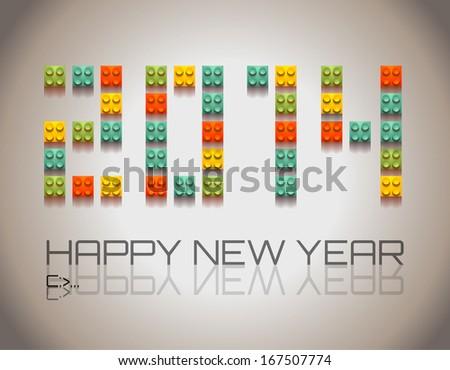 2014 New Year background with  coloful plastic blocks Stock photo © DavidArts