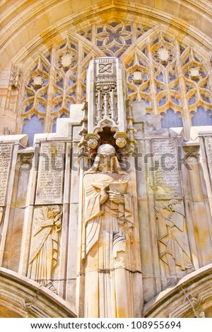 Yale University Sterling Memorial Library Facade Statue Ancient  Stock photo © billperry