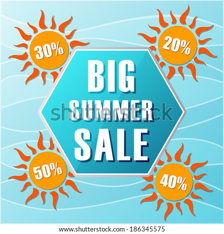 big summer sale and percentages off in suns label in flat desig stock photo © marinini