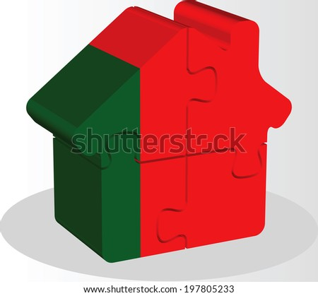 house home icon with Portuguese flag in puzzle isolated on white Stock photo © Istanbul2009
