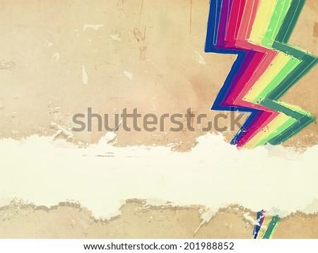 Retro oud papier regenboog zigzag lijnen Stockfoto © marinini
