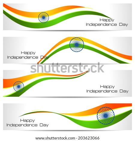 beautiful illustration of stylish indian flag independence day w foto stock © bharat