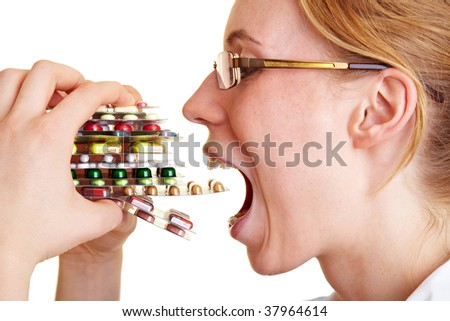woman doctor with pills in hand.  Female doctor holding many pil Stock photo © EwaStudio