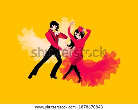 Stok fotoğraf: Güzel · dans · flamenko · poster · vektör