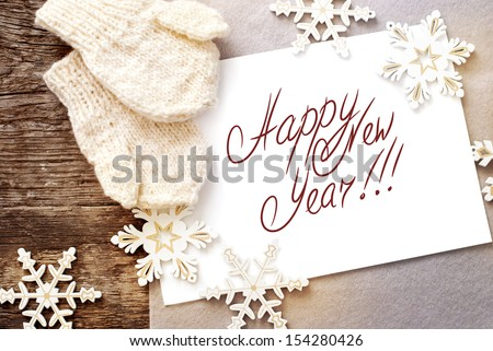 happy new year 2015 on wooden background with christmas baubles stock photo © voysla