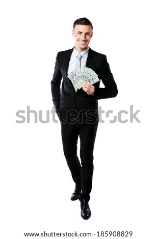 Full-length portrait of a smiling businessman holding US dollars isolated on a white background Stock photo © deandrobot
