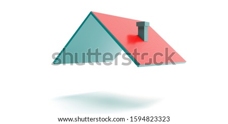 white house for rent with red roof and chimney on green grassy hill background sun shines brightly stock photo © cherezoff