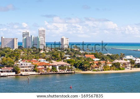 View of the Fort Lauderdale Intracoastal Waterway with a drawbri Stock photo © meinzahn
