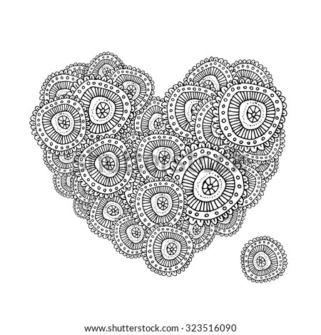 abstract Valentine card with scrolls, heart shape, circles - vec Stock photo © WaD