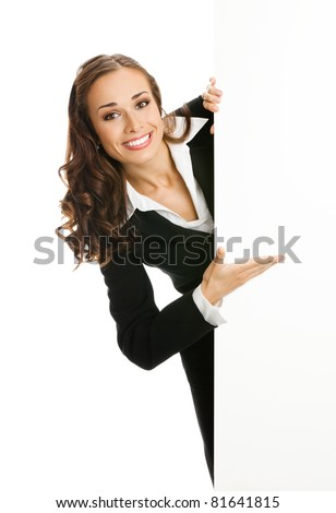 young business woman showing blank signboard on white background Stock photo © master1305