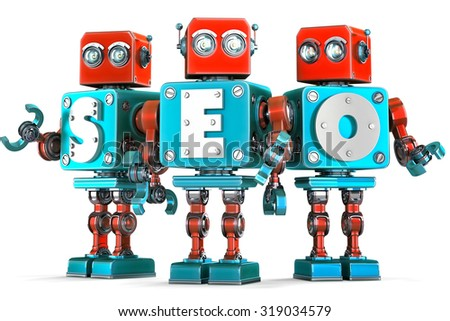 group of vintage robots with seo sign seo optimization concept isolated contains clipping path stock photo © kirill_m