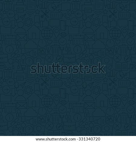 Thin Line Web and Mobile User Interface Dark Seamless Pattern Stock photo © Anna_leni