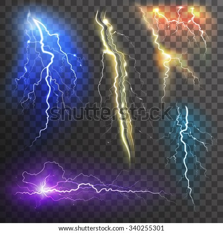 Set of the isolated realistic lightnings with transparency for design.  Stock photo © Samoilik