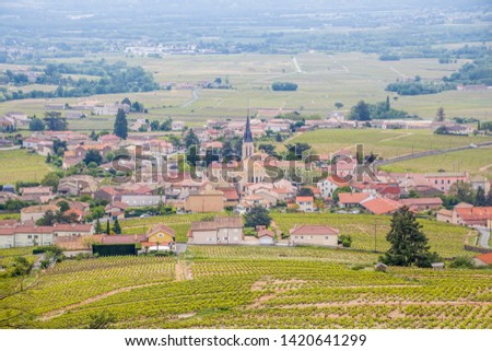 village Julienas with vineyards in Beaujolais, Rhone-Alpes, Fran Stock photo © phbcz