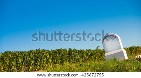 Stock photo: Boundary monument  Champagne vineyards in the Cote des Bar area