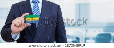 credit card with gabon flag background for bank presentations and business isolated on white stock photo © tkacchuk