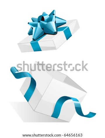 ornament open gift box with satin ribbon bow isolated on a white stock photo © kayros