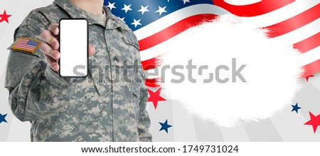 soldiers in assault on usa flag american army military concept stock photo © photocreo