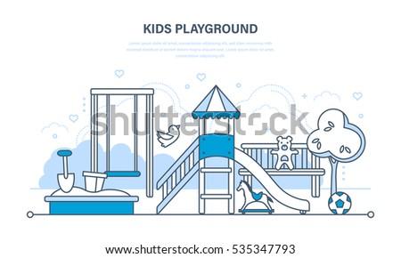 playground infographic elements vector doodle illustration kids playing equipment playground infogr stock photo © khabarushka
