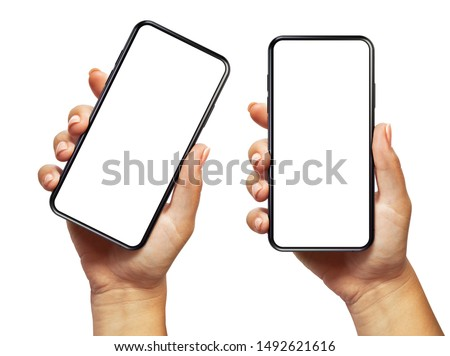 kéz · tart · mobil · okostelefon · képernyő · fehér - stock fotó © Customdesigner
