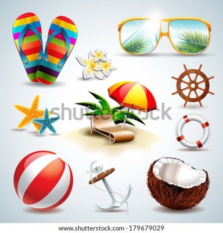 vector summer holiday icon set on clear background eps10 illust stock photo © articular