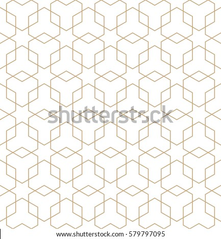 Star and hexagon shapes golden pattern background. Golden backgr Stock photo © SArts