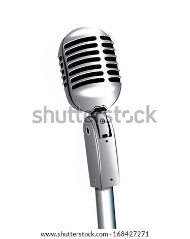 klasszikus · ezüst · mikrofon · telefon · izolált · fehér - stock fotó © tussik