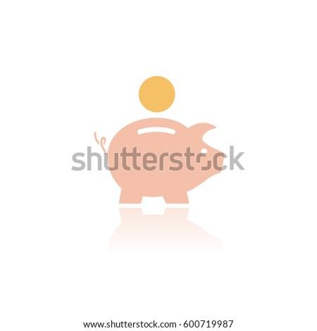 persely · ikon · tükröződés · fehér · üzlet · pénz - stock fotó © imaagio