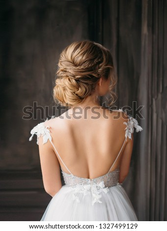 Beautiful gorgeous blond bride woman with makeup and long wavy h Stock photo © Victoria_Andreas