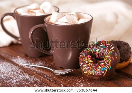 Forró csokoládé kerámia csésze kockás fahéj fehér Stock fotó © Yatsenko