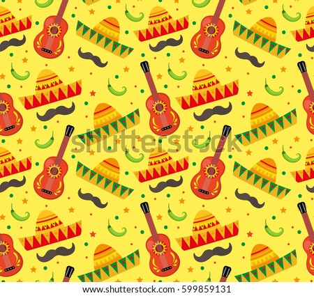 Cinco de Mayo seamless pattern. Mexican holiday endless background, texture. Vector illustration. stock photo © lucia_fox