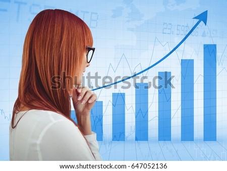 Stock fotó: Hát · nő · gondolkodik · kék · grafikon · digitális · kompozit
