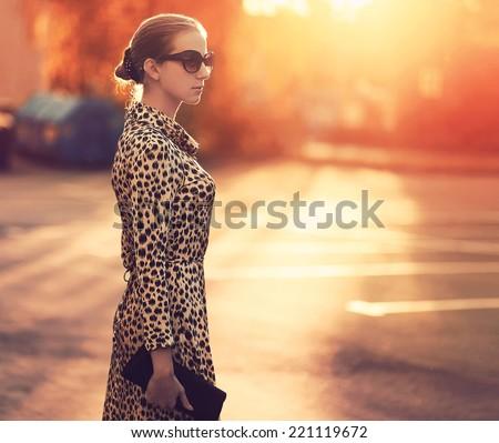Stockfoto: Mooie · stijlvol · vrouw · mode · jurk · luipaard