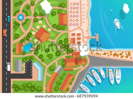 Top view of the resort town, park, road, cars, sea marina and moored yachts. Flat style Vector illus Stock photo © MarySan