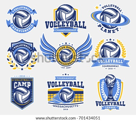 volleyball tournament emblem template with volleyball ball des stock photo © masay256